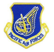 Pacific Air Forces Patch- w/hook closure-color