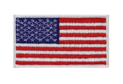 U.S. Flag Patch- 2 x 3 1/4-white edge- color
