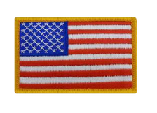 "U.S. Flag Patch 2"" x 3""– gold merrowed edge- color"