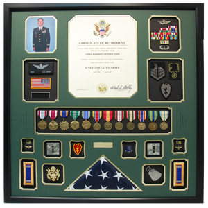 U.S. Army CW4 Retirement Shadow Box Display with Flag