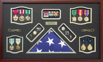 U.S. Navy Shadow Box Display with Cotton Flag