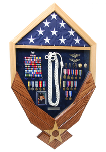 U.S. Air Force Wings Shadow Box Display with Flag