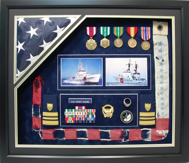 """U.S. Coast Guard 20"""" x 24"""" Open Shadow Box Display with Flag"""