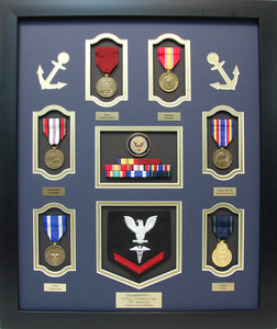 U.S. Marine Corps U.S. Navy Duel Shadow Box Display