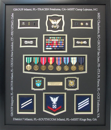 U.S. Coast Guard Shadow Box Display with Inked Duty Stations