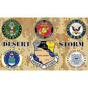 Flag- All US Military Branches, Desert Storm 3' x 5'
