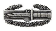 Army Badge: Combat Action First Award - regulation size, silver oxidized
