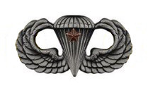 Army Badge: Combat Parachute First Award - silver oxidized