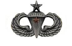 Army Badge: Senior Combat Parachute First Award - silver oxidized