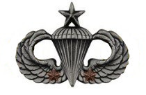 Army Badge: Senior Combat Parachute Second Award - silver oxidized