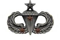 Army Badge: Senior Combat Parachute Third Award - silver oxidized