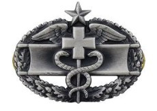 Army Badge: Combat Medical Second Award - silver oxidized