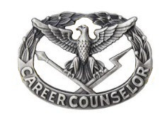 Army Badge: Career Counselor - regulation size, silver oxidized