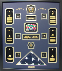 US Navy Shadow Box Display with Shoulder Boards