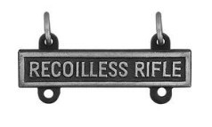 Army Qualification Bar: Recoilless Rifle - silver oxidized finish