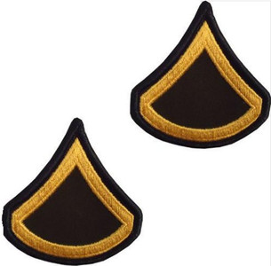 Army Chevron: Private First Class - gold embroidered on green, male
