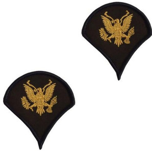 Army Chevron: Specialist 4 - gold embroidered on green, male