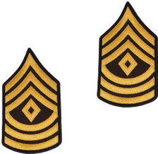 Army Chevron: First Sergeant - gold embroidered on green, male