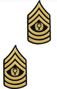 Army Chevron: Command Sergeant Major - gold embroidered on green, male