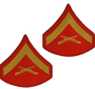 Marine Corps Chevron: Lance Corporal - gold embroidered on red