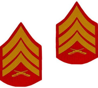 Marine Corps Chevron: Sergeant - gold embroidered on red