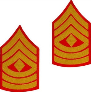 Marine Corps Chevron: First Sergeant - gold embroidered on red