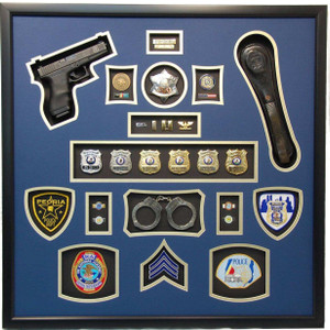 "30"" x 30"" Police Shadow Box with Gun"