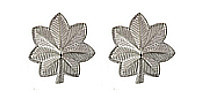 Army Officer Rank Insignia:Lieutenant Colonel - nickel plated- pair