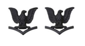 Navy Collar Device: E4 Seabee - black metal- pair