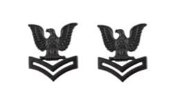 Navy Collar Device: E5 Seabee - black metal- pair