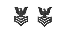 Navy Collar Device: E6 Seabee - black metal- pair