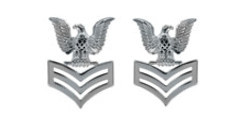 Navy Metal Coat Epaulet Device: E6 Petty Officer