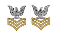 Navy Metal Coat Epaulet Device: E6 Petty Officer: Good Conduct