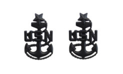 Navy Collar Device: E-8 Seabee - large- pair