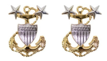 Coast Guard Metal Collar Device: E9 Chief Petty Officer: Master- pair