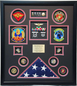 United States Marine Corps Flag Shadow Box Display