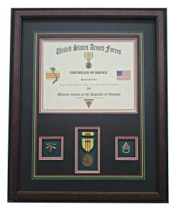 Vietnam Certificate & Medal Frame Display