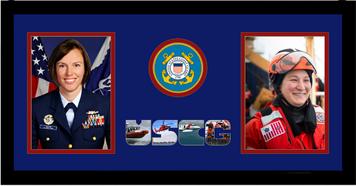 "10"" x 20"" United States Coast Guard Double Photo Frame w/ Seal"