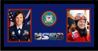 "10"" x 20"" United States Coast Guard Double Photo Frame w/ Seal"