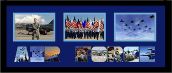 "10"" x 24"" United States Air Force Triple Photo Frame w/ Photo Font"