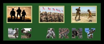 "10"" x 24"" United States Army Triple Photo Frame w/ Photo Font"