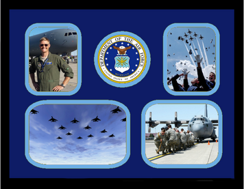 "11"" x 14"" United States Air Force 4 Photo Collage w/ Seal- Horizontal"
