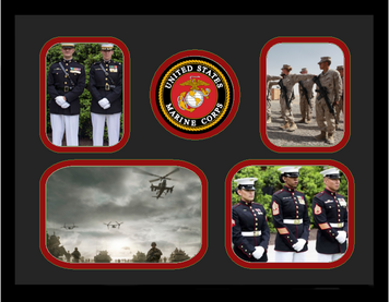 "11"" x 14"" United States Marine Corps 4 Photo Collage w/ Seal-Horizontal"