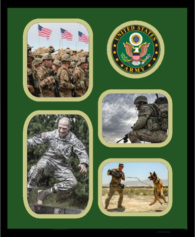 "11"" x 14"" United States Army 4 Photo Collage w/ Seal-Vertical"