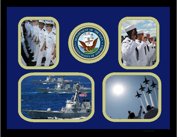 "11"" x 14"" United States Navy 4 Photo Collage w/ Seal-Horizontal"