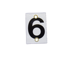 Number Plate 6 for Style E & M Staff Gages, 3in x 2in