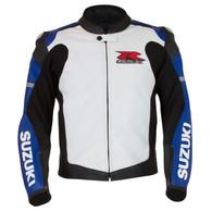 Suzuki GSX-R Perforated Leather Jacket (Blue/White)