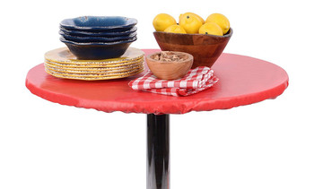 Fitted Vinyl Round Tablecloth Ruby Red