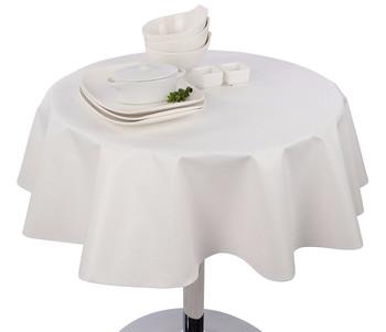 Round Vinyl Tablecloth White