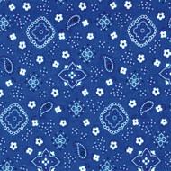 Blue Round Bandana Print Tablecloth